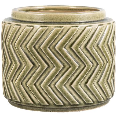 Florabelle Olive Green Aztec Ceramic Plant Pot