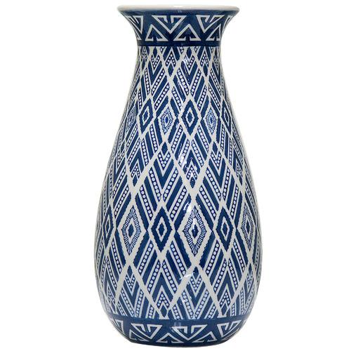 Florabelle Blue Aztec Teardrop Porcelain Vase