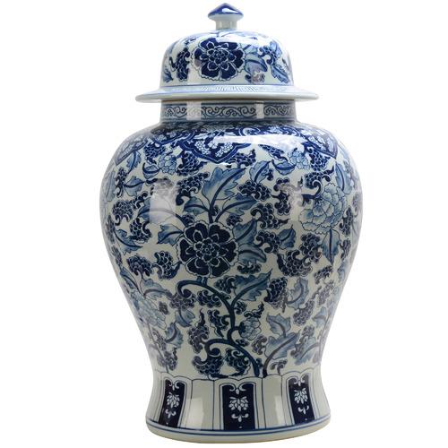 Florabelle Blue Ming Porcelain Jar with Lid