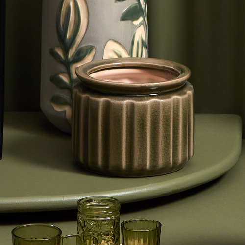 Florabelle Distressed Green Rosa Ceramic Planter