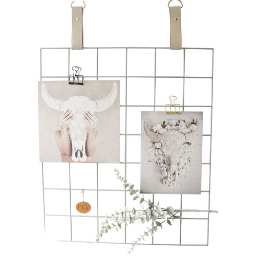 H and G designs Grey Grid Mood Board with Suede Mushroom Straps