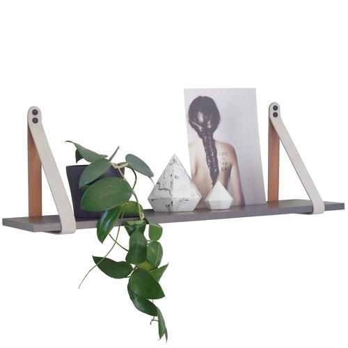 H and G designs Mushroom & Tan Suede Leather Strap Shelf