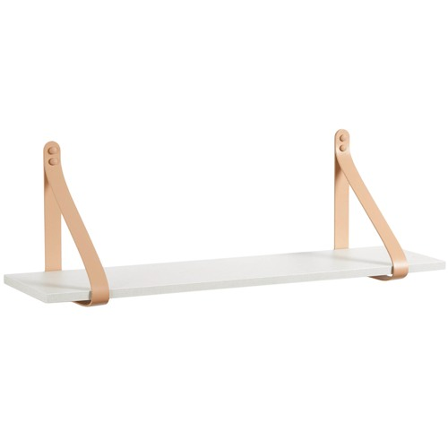 H and G designs Medium Nude Leather Strap Shelf