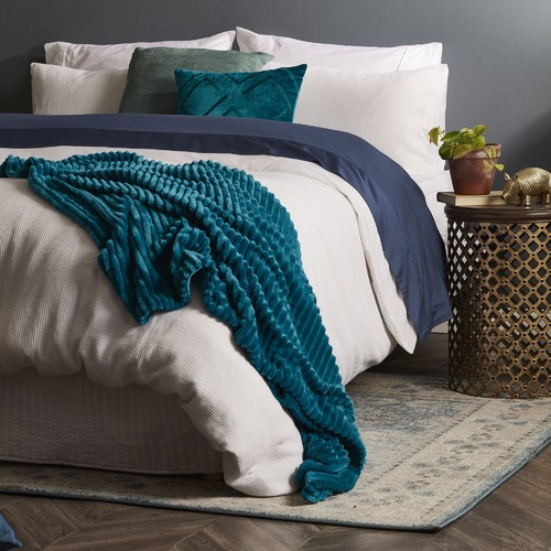 Bed by Temple & Webster White Jumbo Waffle Linen Cotton Quilt Cover Set