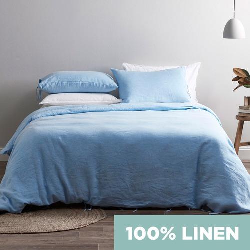Bed by Temple & Webster Blue Vintage Wash Pure Linen Quilt Cover Set