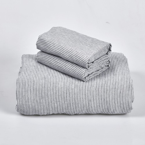 Bed by Temple & Webster Mid Grey Yarn Dyed Stripe Pure Linen Quilt Cover Set