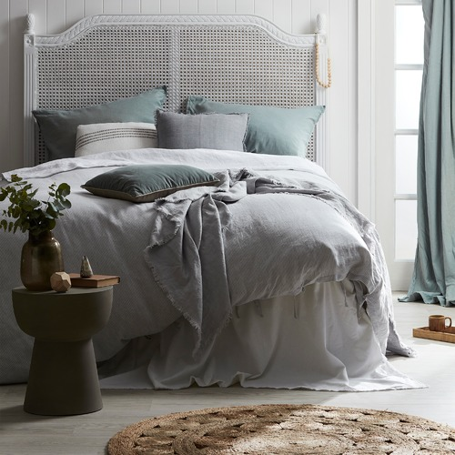Home by Temple & Webster White Frayed Edge Linen-Blend Quilt Cover Set