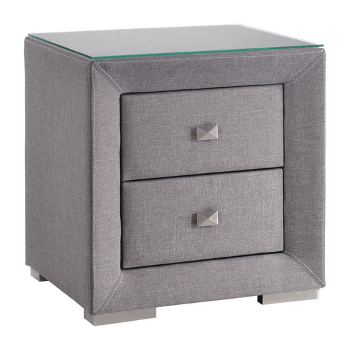Light Grey Modernized Fabric Bed Side Table With Glass Top