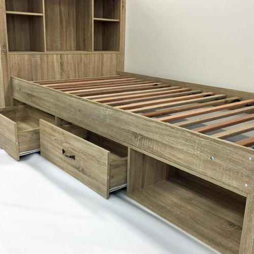 VIC Furniture Oak Jeppe King Single Bed & Deluxe Mattress