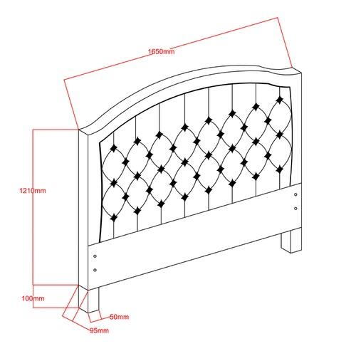 VIC Furniture Light Grey Luxury Aurora Queen Bedhead