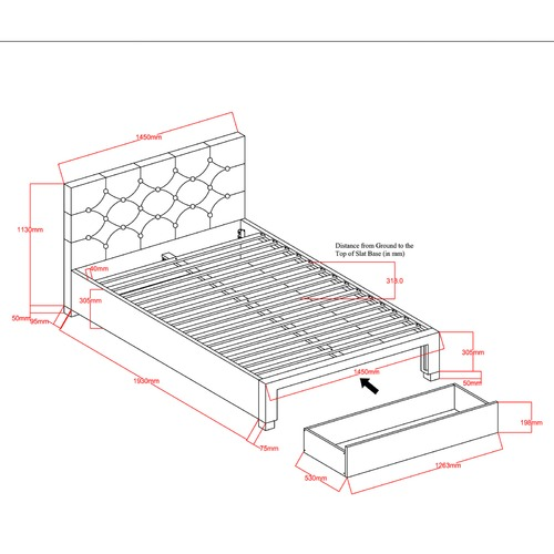 VIC Furniture Kingston Double Bed Frame with Mattress