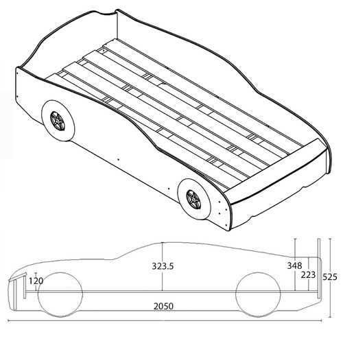 VIC Furniture Ford Mustang Single Car Bed