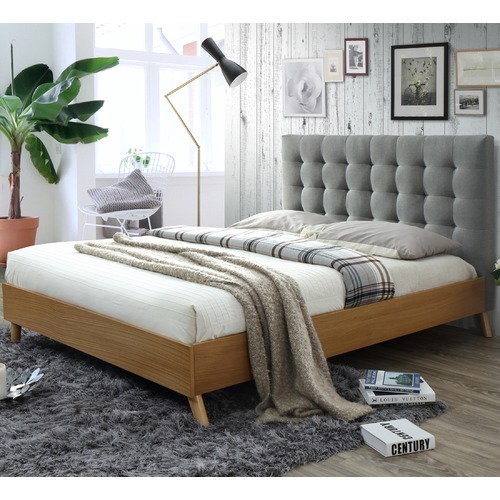 VIC Furniture Light Grey & Oak Alyxia Queen Bed
