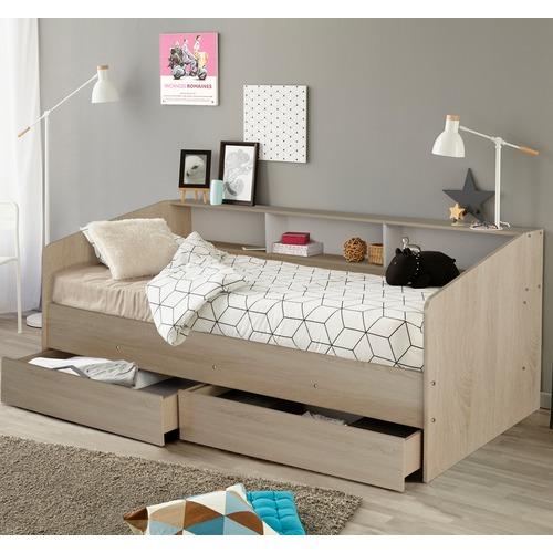 VIC Furniture Light Oak Bevel Single Bed with Storage