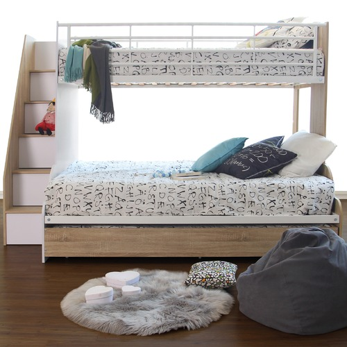 VIC Furniture Sonoma Oak & White Levin Single Over Double Bunk Bed