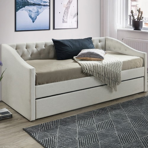 VIC Furniture Oat White Allegra Sofa Daybed with Trundle
