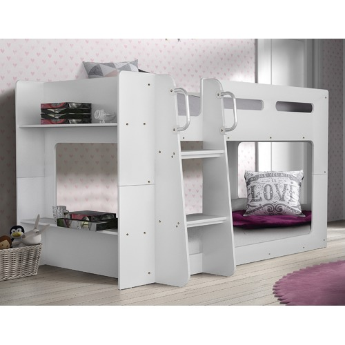 VIC Furniture Phoenix Low Line Single Bunk Bed with Shelves