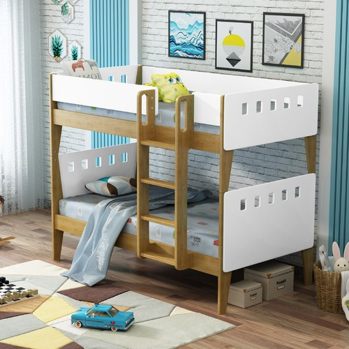 VIC Furniture White & Natural Cambridge Single Bunk Bed