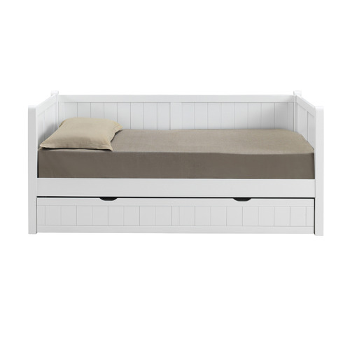 VIC Furniture Hamptons White Single Wooden Daybed with Trundle