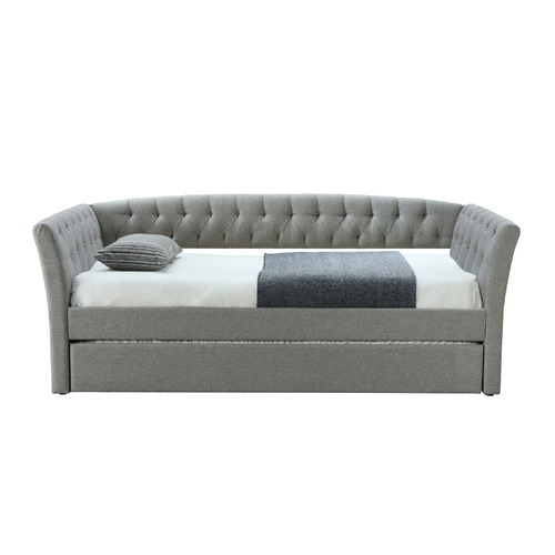VIC Furniture Light Grey Rene Single Sofa Bed with Trundle