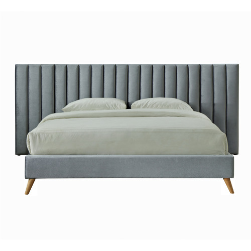 VIC Furniture Aurora Velvet Bed with Extendable Bedhead