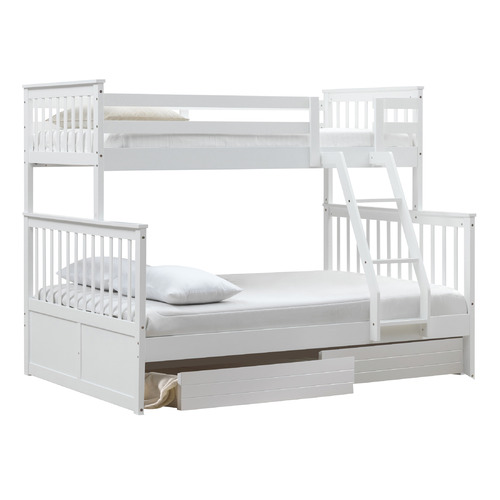 VIC Furniture White Seattle Single Over Double Bunk Bed with 2 Drawers