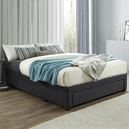 VIC Furniture Dark Grey Astro Queen Storage Bed Frame