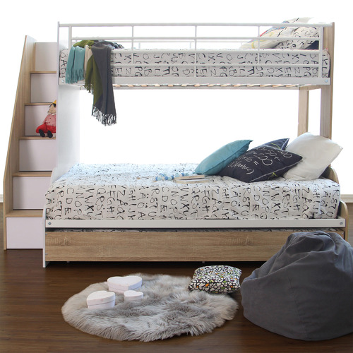 VIC Furniture Sonoma Levin Single Over Double Bunk Bed