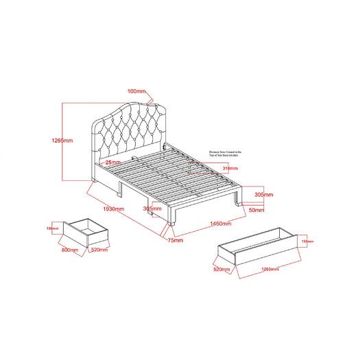 VIC Furniture Grey Kiev Upholstered Bed Frame with Storage