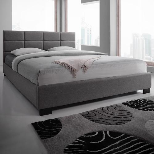 VIC Furniture Light Grey Liam Upholstered Bed Frame