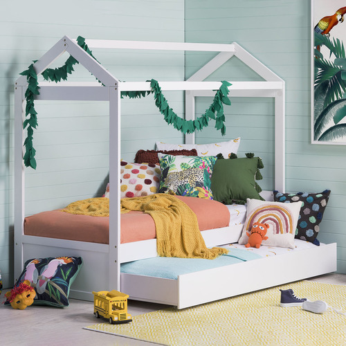 VIC Furniture White Darcy Single House Bed with Trundle