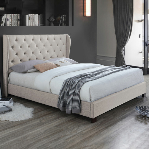 VIC Furniture Oat White Diamond Queen Bed Frame