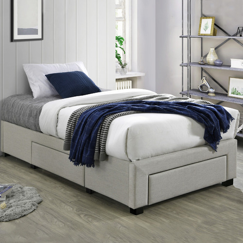 VIC Furniture Oat White Astro King Single Storage bed Base with Mattress