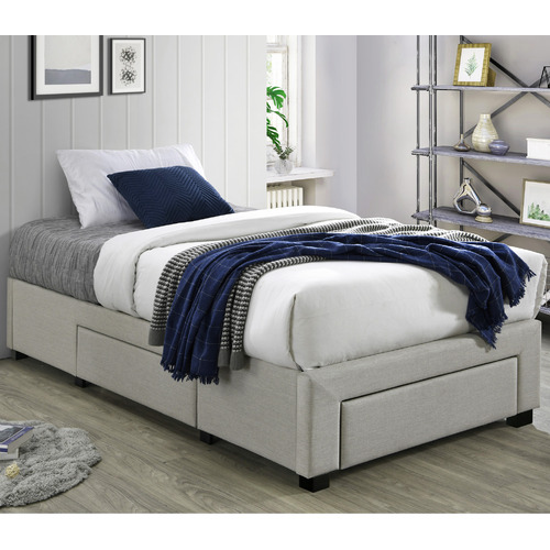 VIC Furniture Oat White Astro Storage Bed Frame
