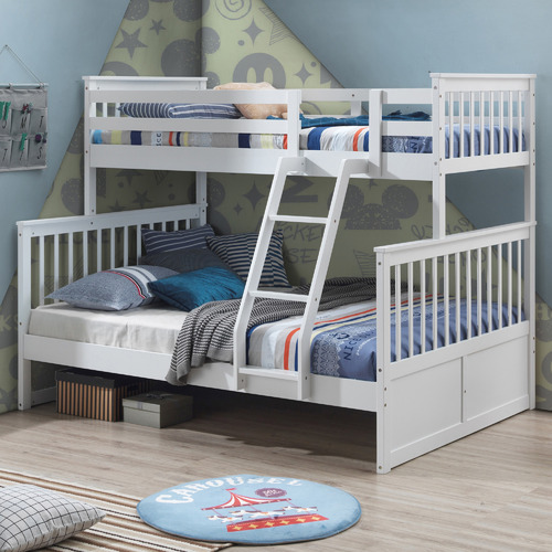 VIC Furniture White Seattle Single Over Double Bunk Bed