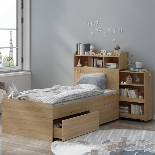 VIC Furniture Light Oak Galway Bed with Storage