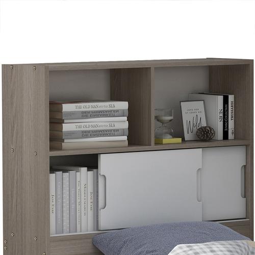 Light Grey & White Quentin Storage Bookcase Bed
