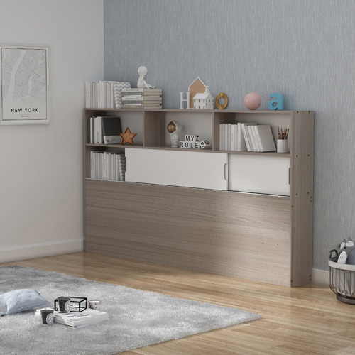 Light Grey & White Quentin Storage Bed with Wall Bookcase