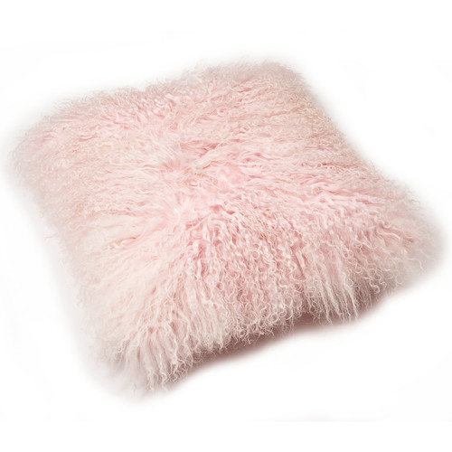 All Natural Hides and Sheepskins Rose Quartz Mongolian Sheepskin Cushion