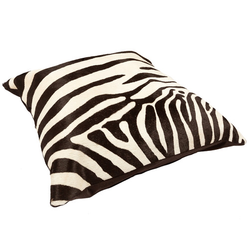 All Natural Hides and Sheepskins Zebra White Cow Hide Cushion