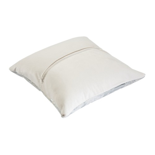 All Natural Hides and Sheepskins White & Silver Cow Hide Cushion