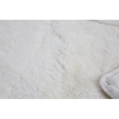 All Natural Hides and Sheepskins White Rabbit Fur Blanket
