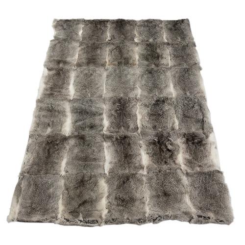 All Natural Hides and Sheepskins Grey Rabbit Fur Blanket