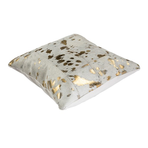 All Natural Hides and Sheepskins White & Gold Cow Hide Cushion