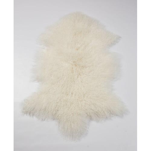 All Natural Hides and Sheepskins Ivory Mongolian Sheepskin Rug