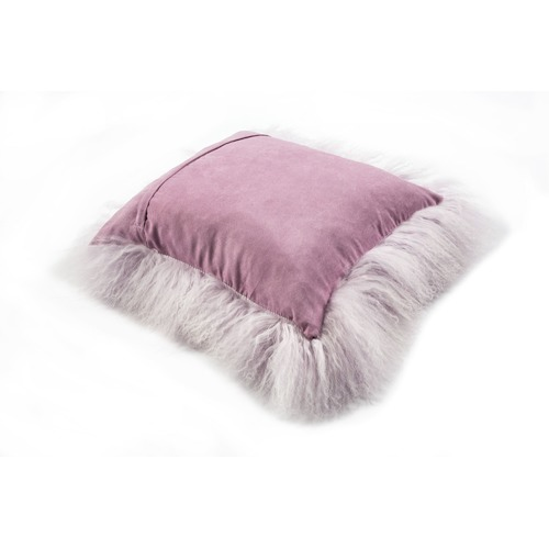 All Natural Hides and Sheepskins Lavender Mongolian Sheepskin Cushion