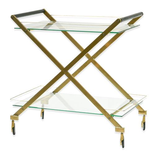 Harper & Hindley Brushed Gold Victoria Metal & Glass Bar Cart