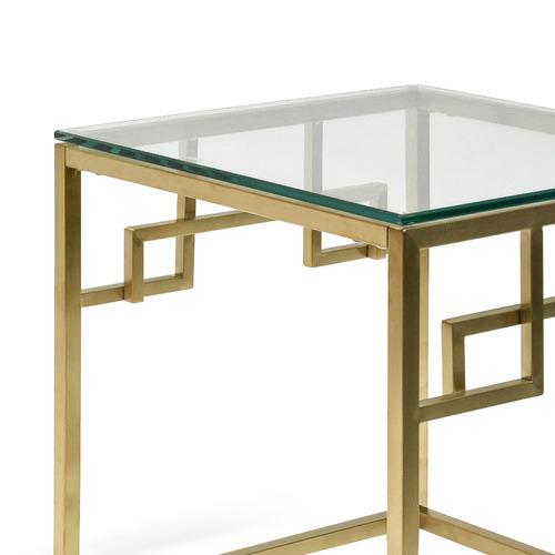 Harper & Hindley Brushed Gold Reema Glass Side Table