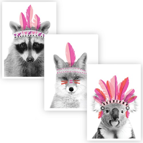 Design Mondo Feathered Femmes Unframed Paper Print Triptych