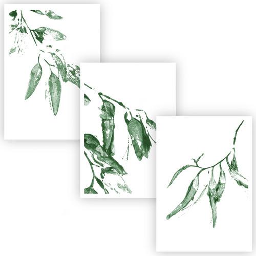 Design Mondo Green Gumleaves Unframed Paper Print Triptych